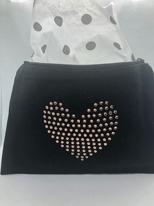 Heart Zippered Bag (Cream Color Only)