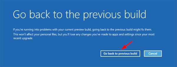 restore previous build of Windows 10