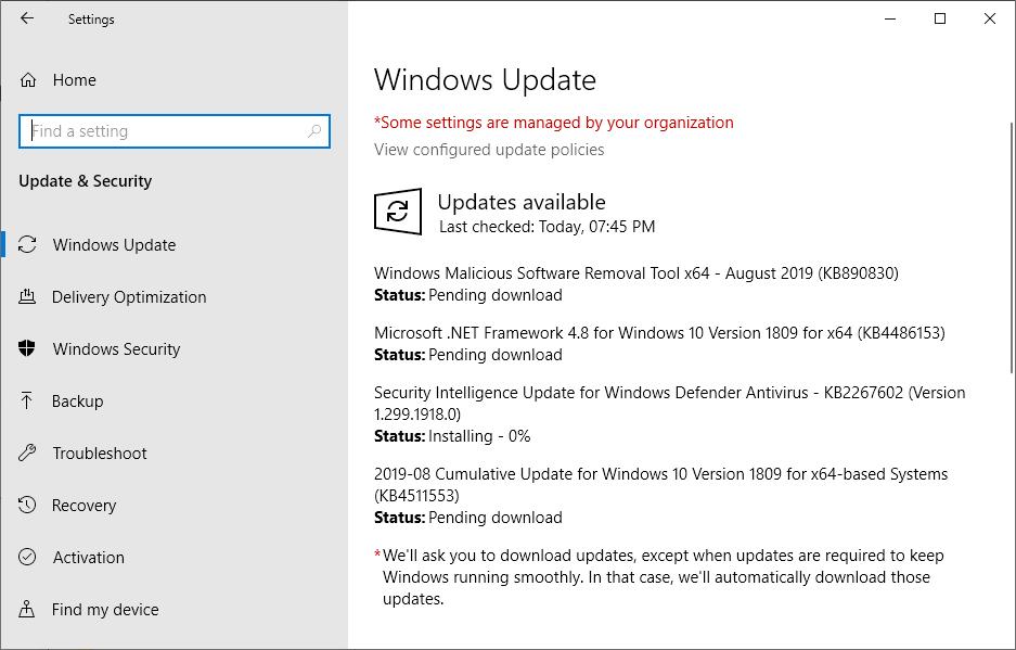 Options > Update & Security > Windows Update