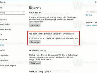 How To Go Back to the Previous Build in Windows 10