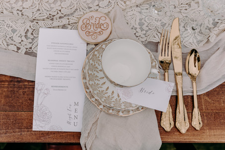 Table setting, brides place setting, vintage china, wedding stationary, lace table runner, gold cutlery, wedding favour
