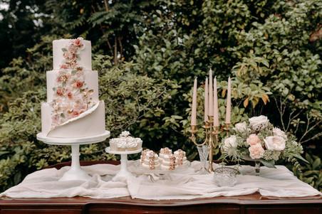 Wedding cake, cake table, dessert table, vintage style dessert table, floral wedding cake