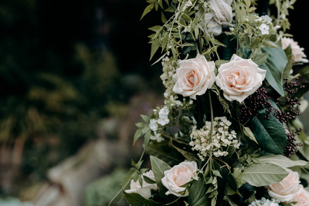 wedding floral display, wedding archway, pink roses, foliage