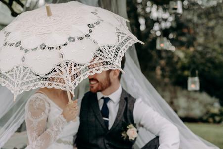 Bride and Groom, parasol, vintage, garden party, hanging tea lights,