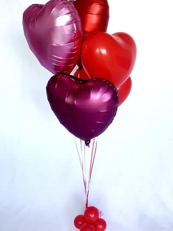 3 x foil love hearts, 2 latex hearts