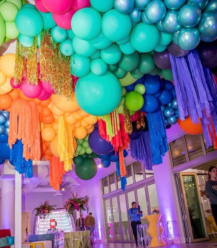 Colourful balloon ceiling