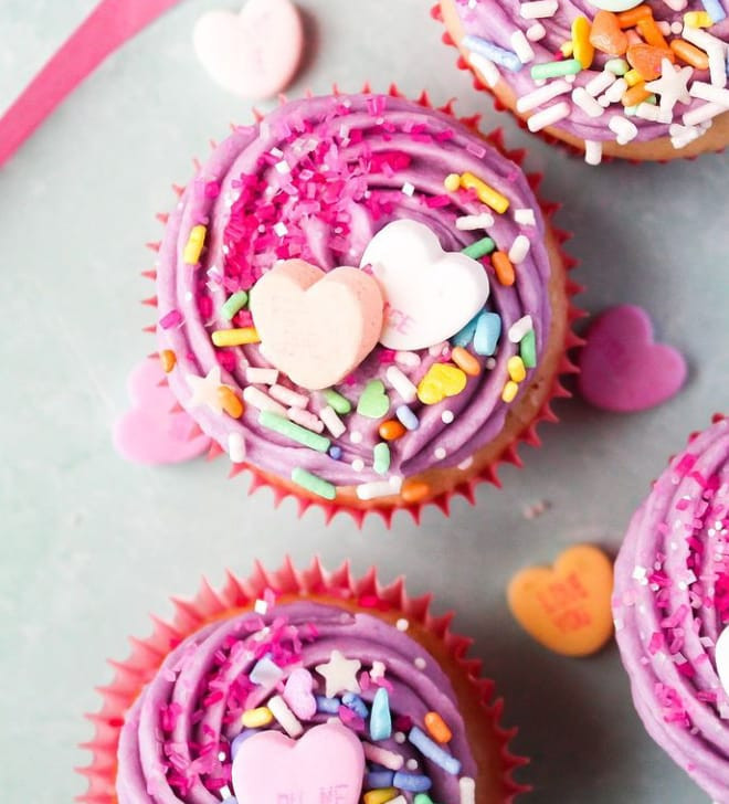4 x Love Heart Candy cupcakes