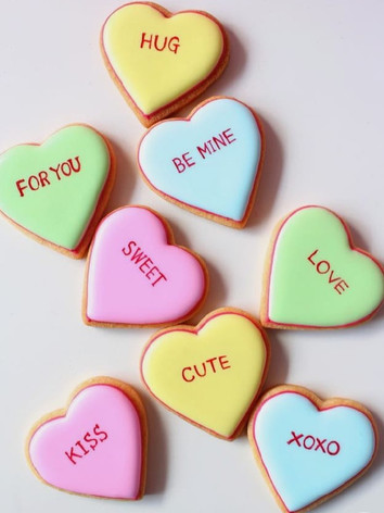 Love Heart Candy theme biscuits