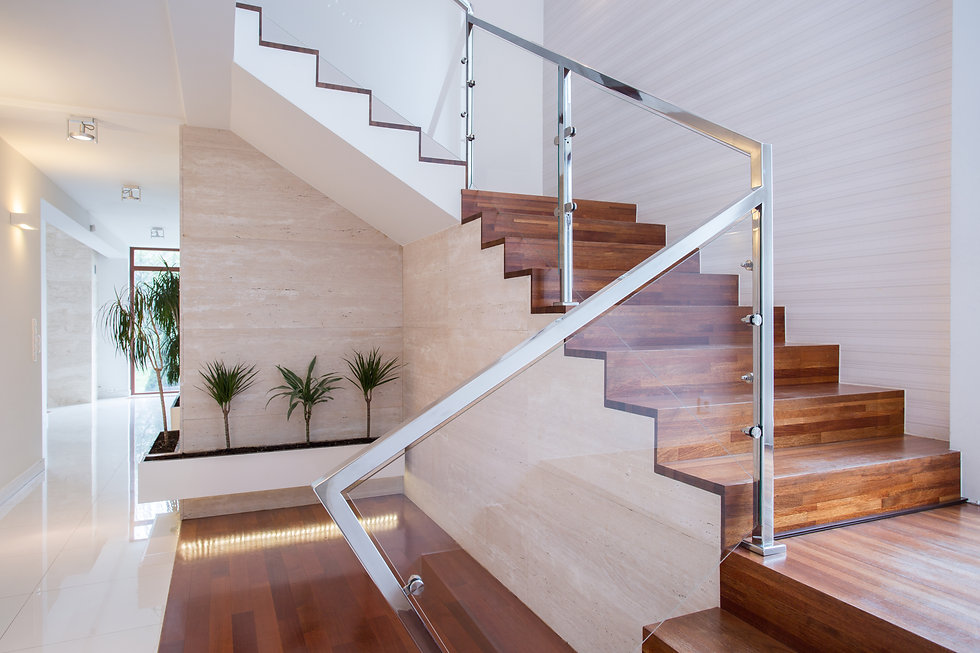 Image of stylish staircase in bright hou