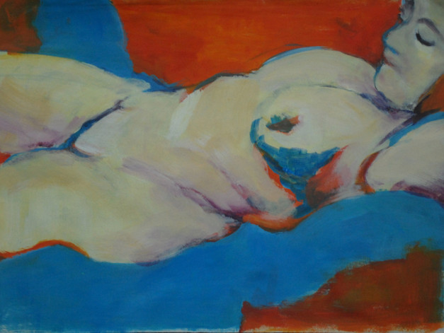 Nude in Blue and Orange