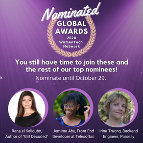 Holler! I am a finalist for WomenTech Speaker of the Year 2020