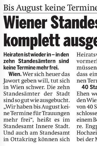 Presseartikel Österreich - Wiener Standesämter komplett ausgebucht - Freie Trauung und Standesamt - Regina Schützenhofer
