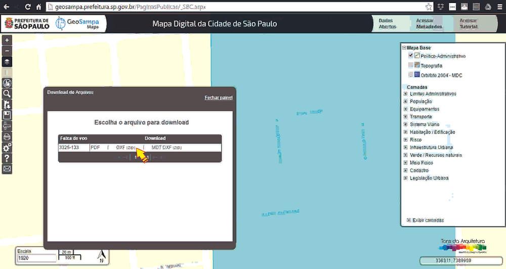 Mapa cidade São Paulo GeoSampa tons da arquitetura
