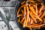Sweet potato fries in cast iron skillet
