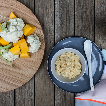 Little Bud healthy kids meal of macaroni and cheese with hidden veg