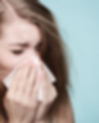 Flu cold or allergy symptom. Sick woman