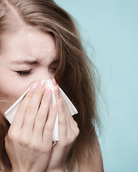 Flu cold or allergy symptom. Sick woman