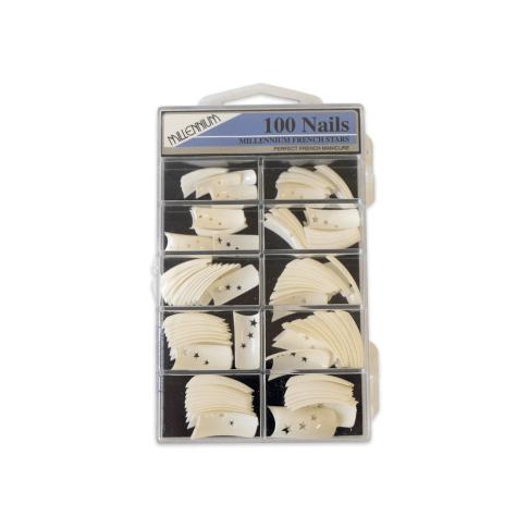 100 Nail Tips - French White Tip Star - Millennium Nails