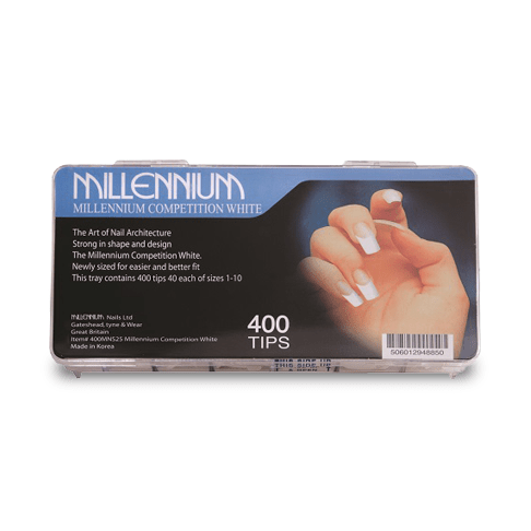400 Nail Tips - Competition White -Millenium Nails