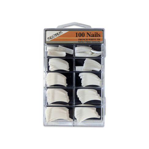 100 Nail Tips - French White - Millennium Nails