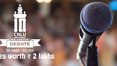10th CNLU Parliamentary Debate 2018 [Sep 30-Oct 2, Patna] Prizes Worth Rs. 2L; Registrations Open