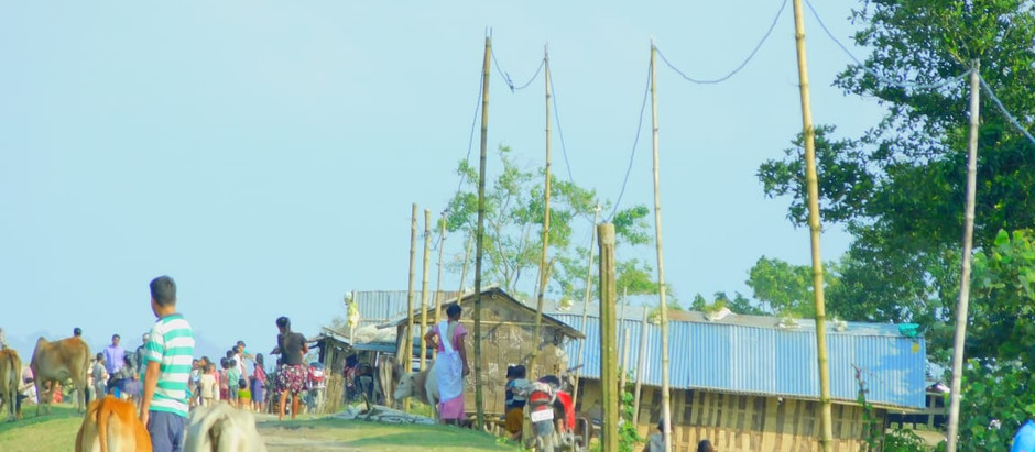 Electricity on Bambo Pillar in a Village of Dhakuakhana