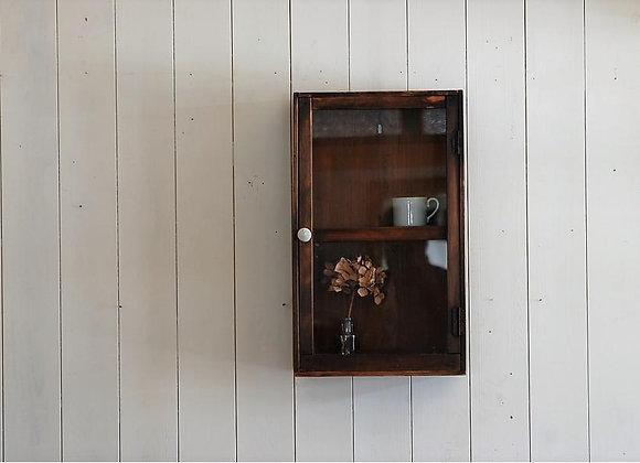 小さな壁掛けガラス扉収納棚