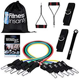 Fitness Insanity Resistance Band Set - Include 5 Stackable Exercise Bands with...