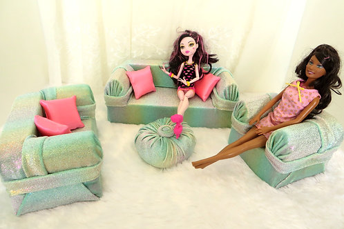 Deluxe Sofa - Mint Rainbow Shimmer