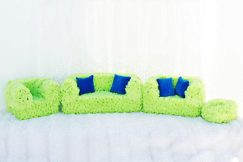 Elite Sofa- Fuzzy Lime Sequins