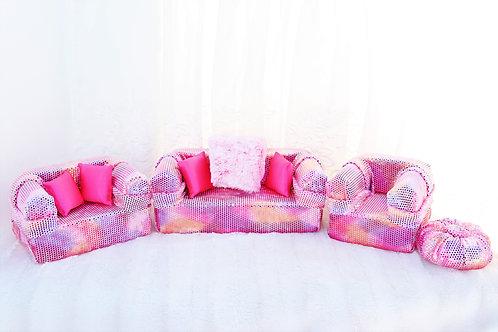 Elite Sofa- Pink Shimmer