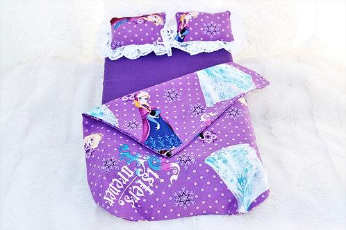 """Fr Bed- Purple Polka Dot """"Frozen"""""""