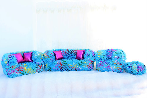 Elite Sofa- Aqua Rainbow Zebra