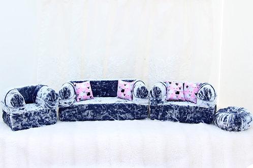 Classic Sofa- Crushed Silver