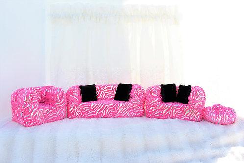 Deluxe Sofa- Pink & Silver Zebra