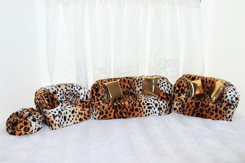 Deluxe Sofa- Leopard Wild Gold Print