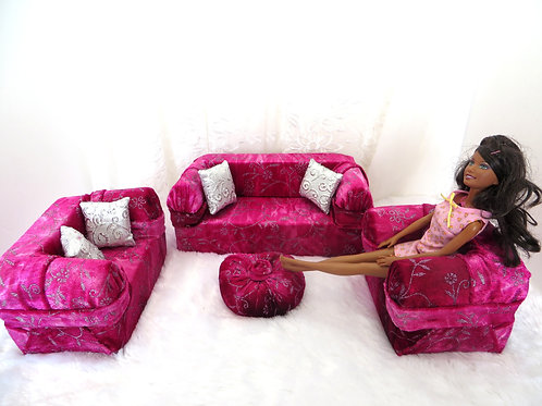 Deluxe Sofa - Cherry Silver Frosting