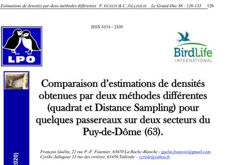 Méthodes d'estimation des passereaux par transect et mesure des distances (Distance Sampling)