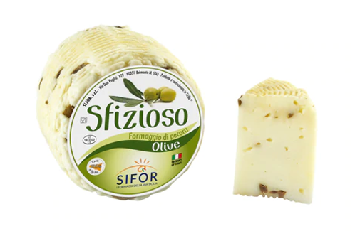 Sfizioso Primo Sale Sicilian Pecorino with Olives Fresh