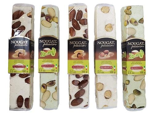 [5 Pack] Quaranta Traditional Assorted Nougat Soft Nut Torrone Bars