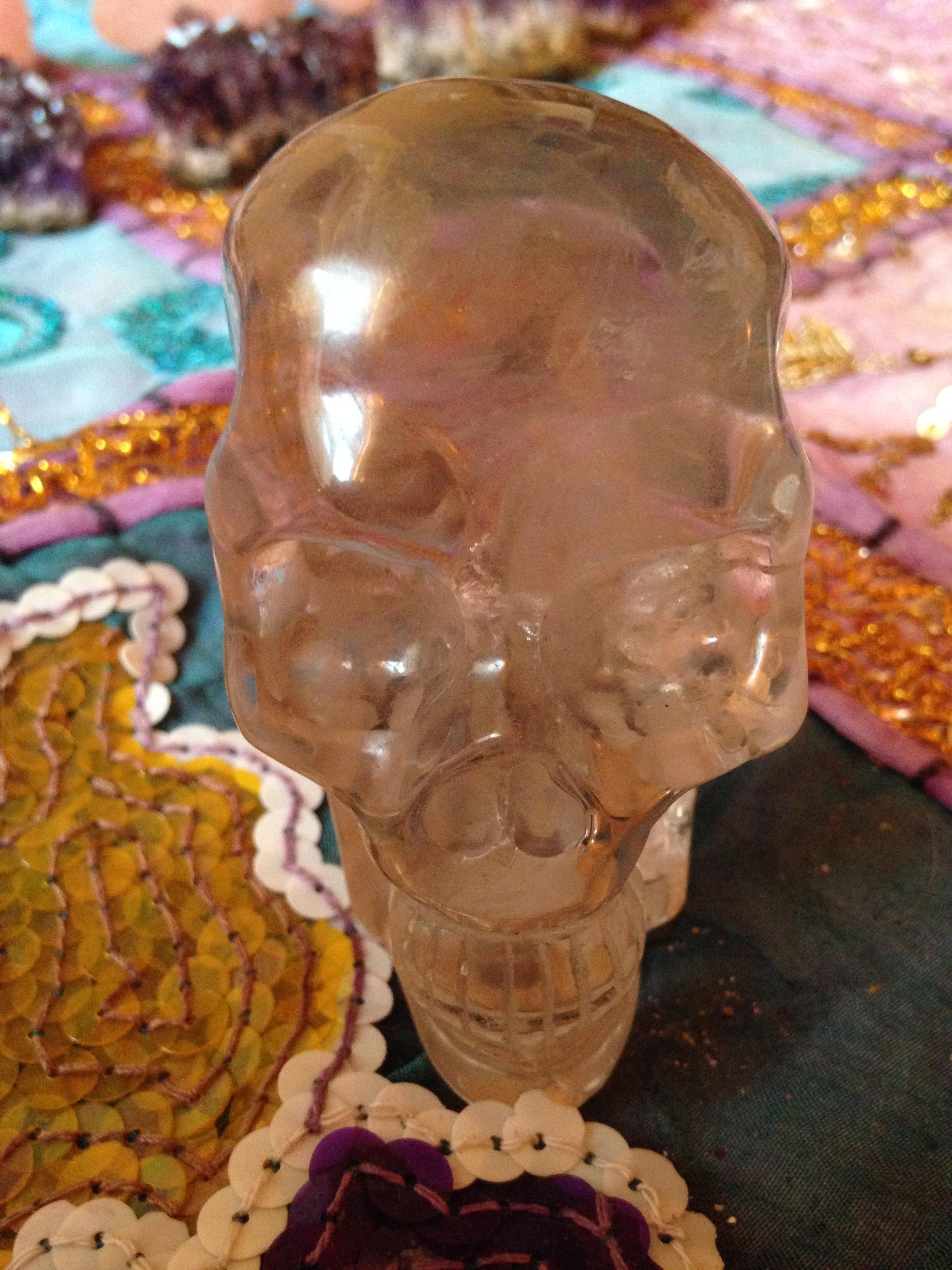 Crâne de cristal quartz fumé 230gr