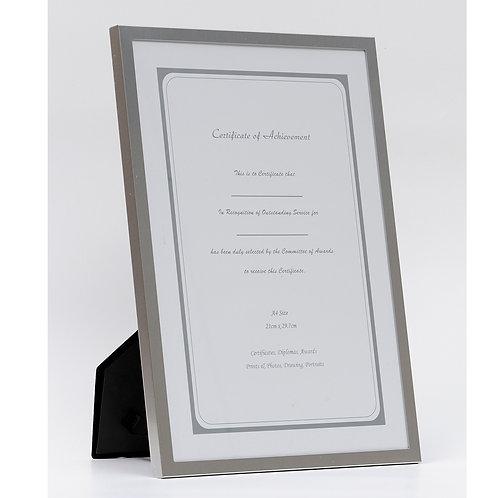 Metal frame, certificate frame, Silver photo frame, A4  picture frame, GM frame, award frame, presentation frame, Goodrich.