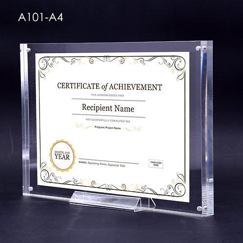 Acrylic block frame, A4 acrylic frame, certificate frame, high quality frame, prestige acrylic frame, magnetic frame, acrylic