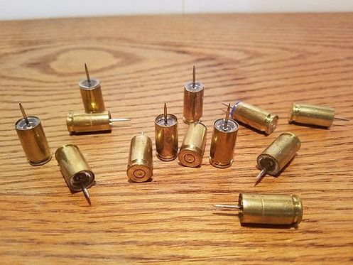 THUMB TACKS 9mm BULLET CASINGS (13)