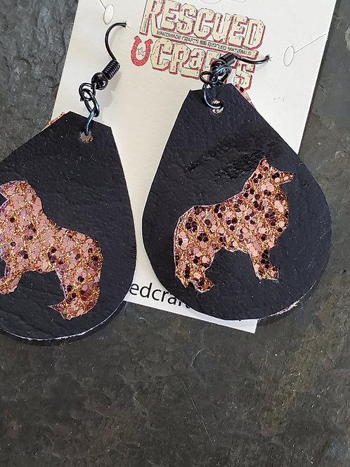 Collie dog earrings