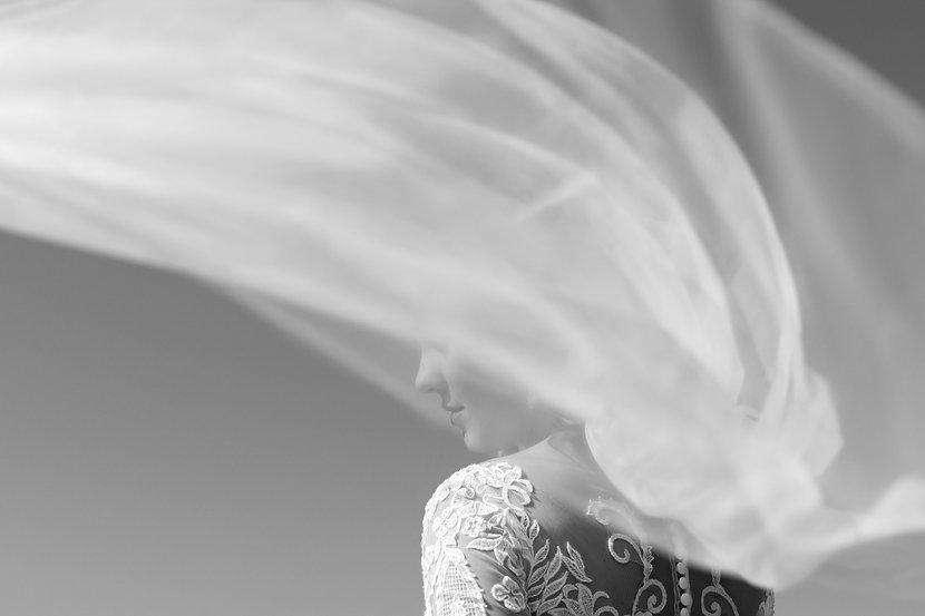 Свадебная Арт фотография, фата перекрывает часть лица невесты, получился воздушный кадр