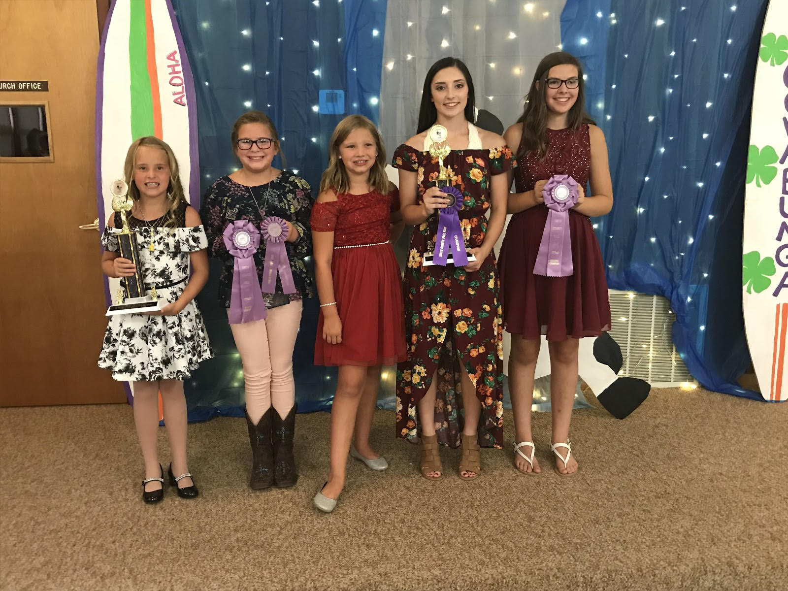 Busy Bee girls at the Fashion Review, left to right: Lexi Rust, KensLy Blank, Kaydence Dodds, Layne Pettijohn, TyLynn Blank.
