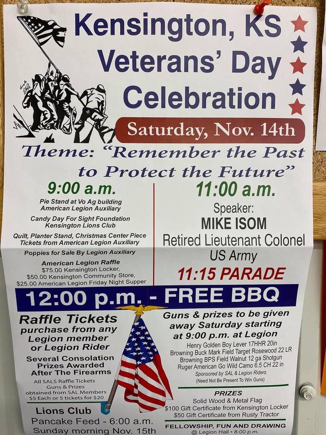 News for 11/11/2020 - Veteran's Day