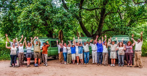 a happy group on safari