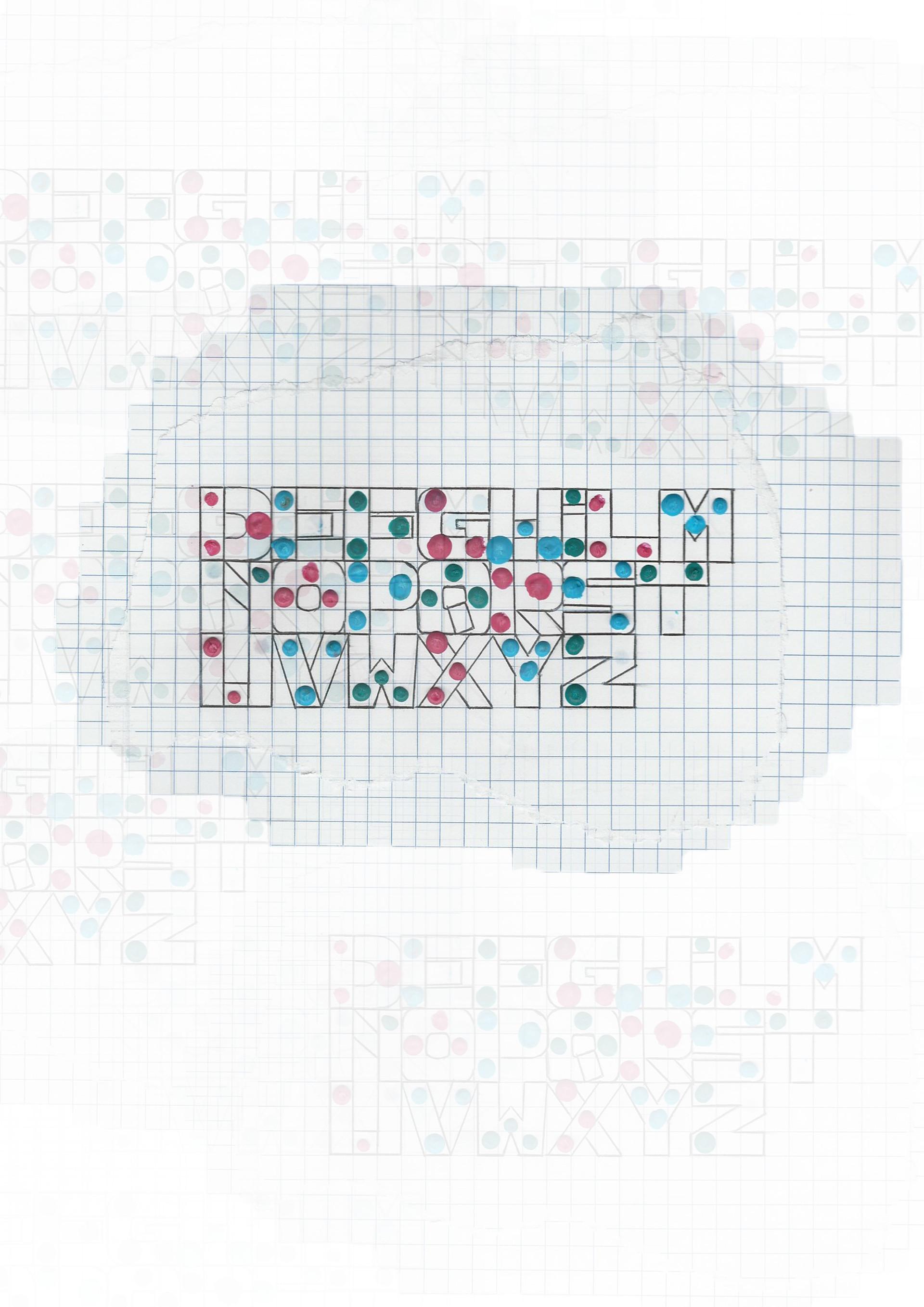Un alfabeto un po' particolare, che può essere composto anche solo da pallini di cera sciola e sottili linee di penna, e scopare...riappare...